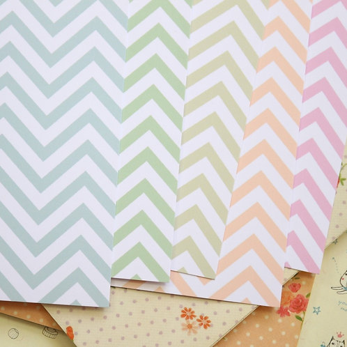 set 03 pastel chevron mix printed card stock