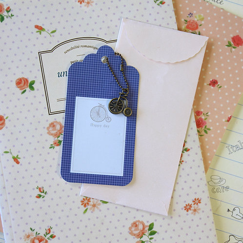 penny farthing charm and scallop gift tag