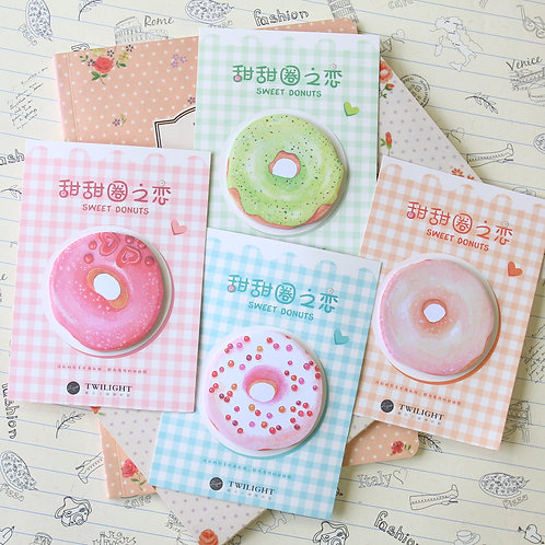 sweet donuts cartoon shapes sticky notes