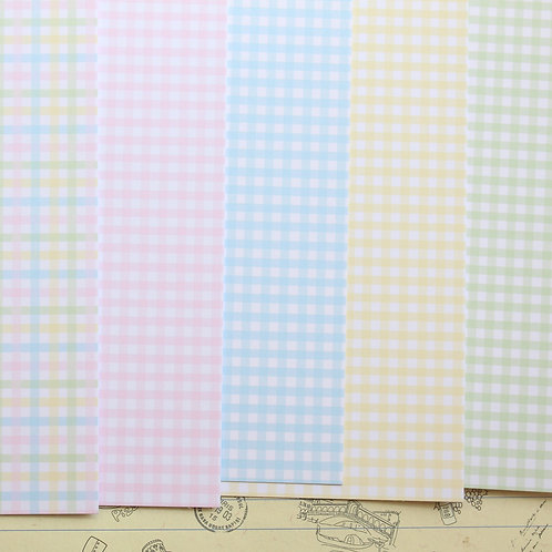 mini pastel gingham mix printed card stock