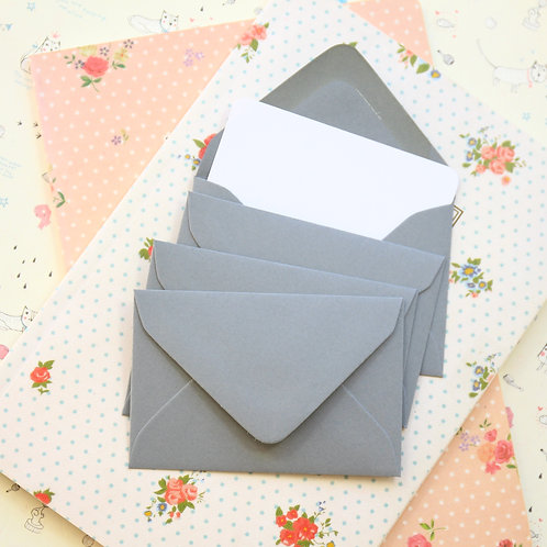 dark grey colour mini envelopes & note cards