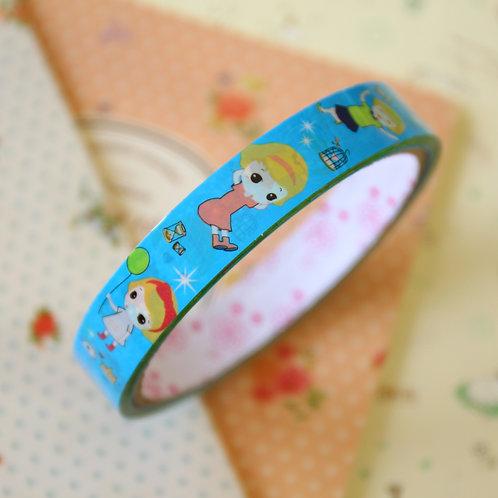 little girl blue medium cartoon deco tape