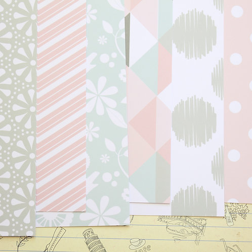 set 03 pink & grey mix patterns printed card stock