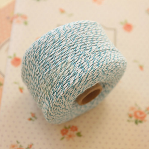 teal blue twisted cotton bakers twine 200m