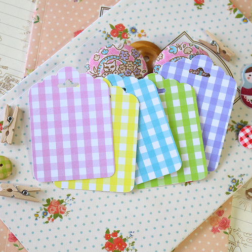 pastel gingham ornate scallop tags