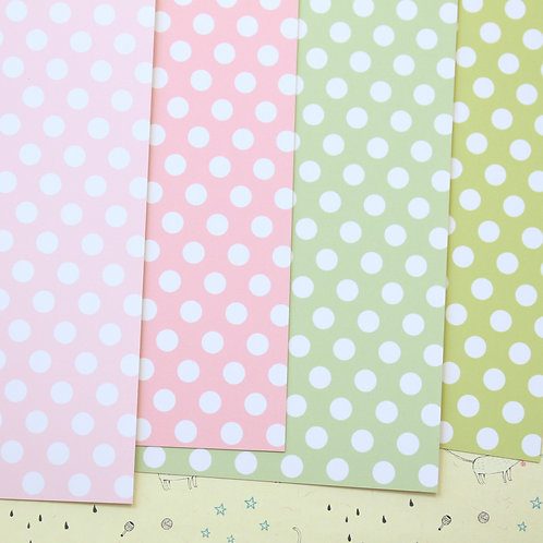 set 01 polka dots mix printed card stock