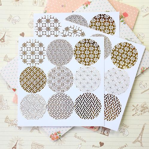 gold circles deco sticker seals