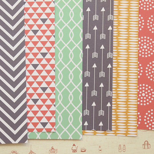 set 01 coral yellow mint mix patterns printed card stock