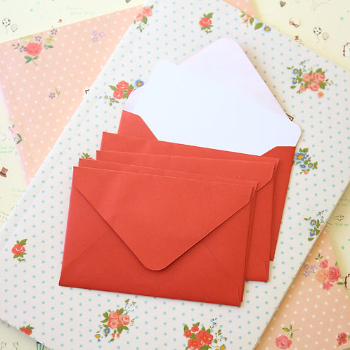 cardinal red pearlescent mini envelopes & notecards