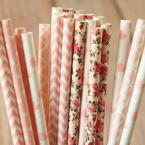 pink dresses mix paper straws