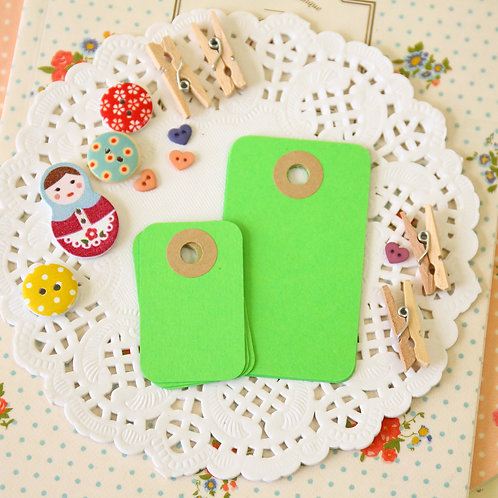 lime green rounded rectangle tags