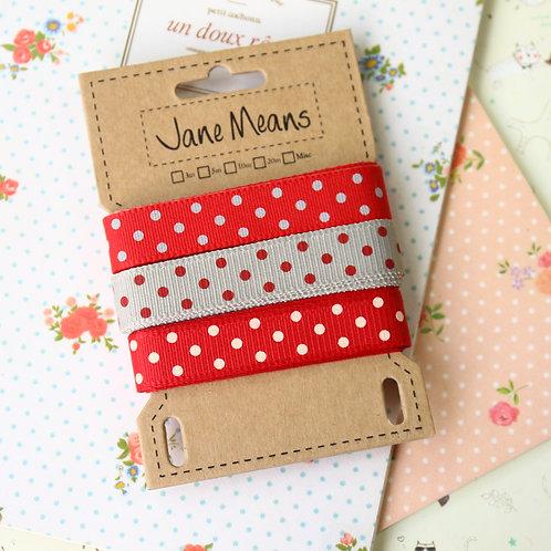 red dots G jane means trio ribbon set