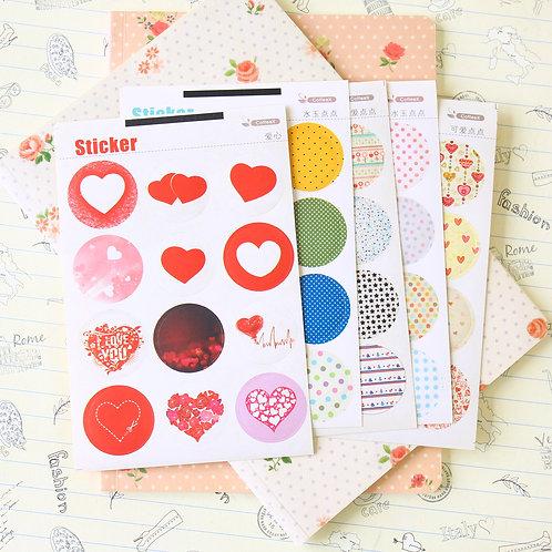 coffee x hearts pattern stickers