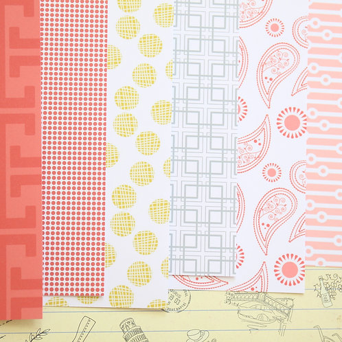set 04 red & yellow mix patterns printed card stock