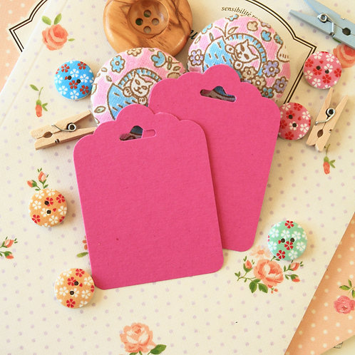 magenta pink ornate scallop tags
