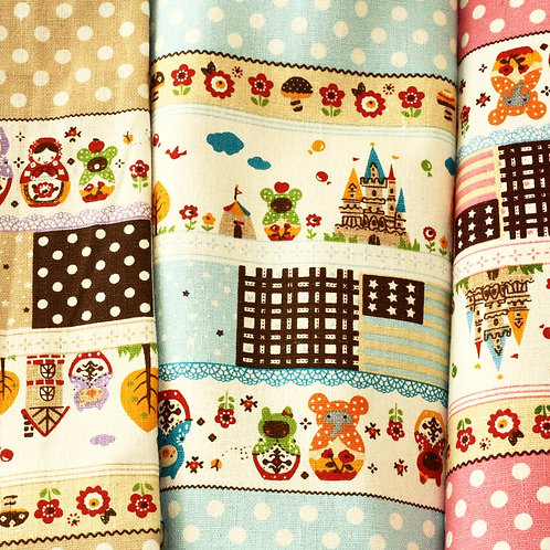 matryoshka animals cartoon cotton linen blend fabric quarter