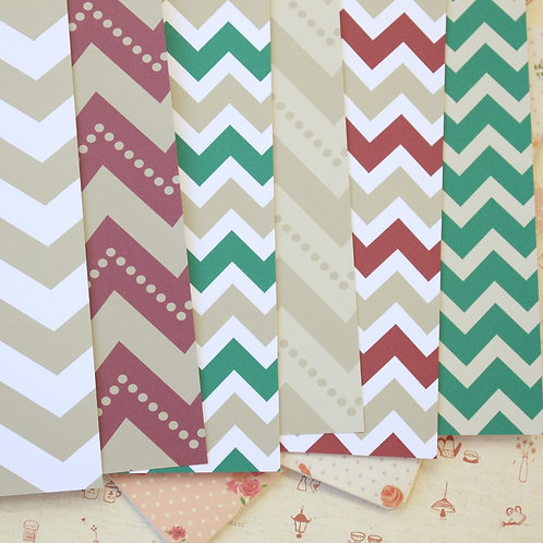 set 01 christmas chevron printed card stock