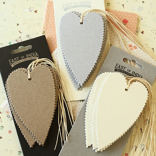east of india large plain heart gift tags