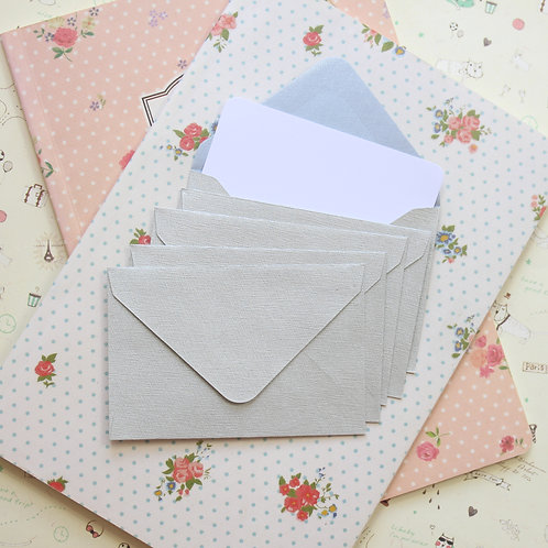 pale silver textured mini envelopes & notecards