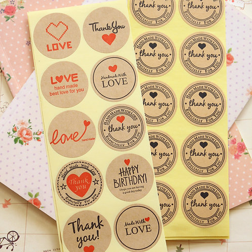 love thank you kraft brown sticker seals