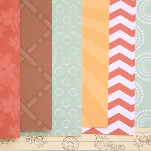 set 04 red brown & blue mix patterns printed card stock