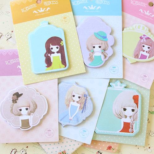 romantic princess cartoon sticky notes