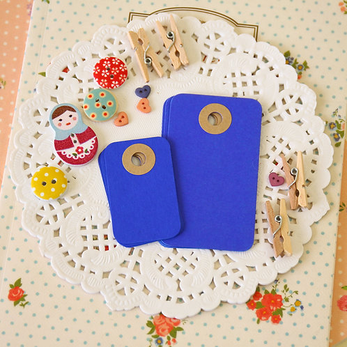 royal blue rounded rectangle tags