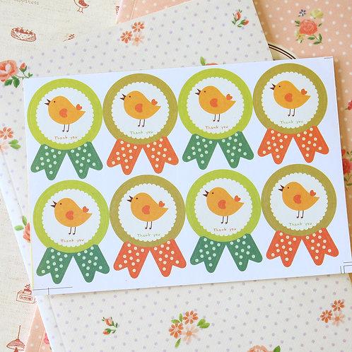 thank you bird prize ribbon sticker seals