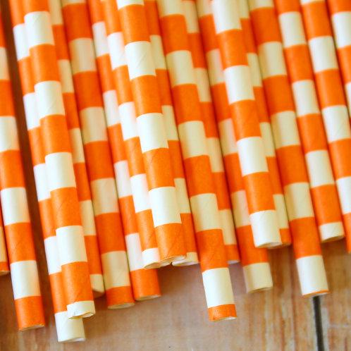 orange circle stripe paper straws