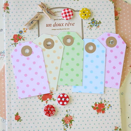 pastel dots luggage tags