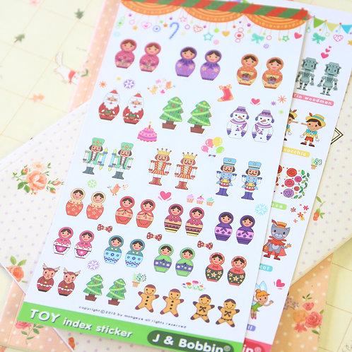 j & bobbin toy index cartoon stickers