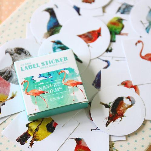 nature's poems birds cartoon point stickers