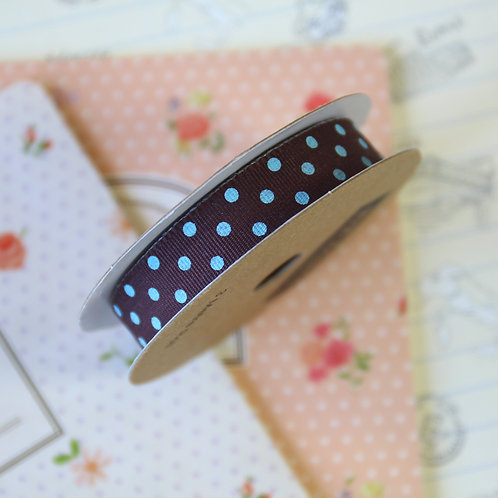 jane means chocolate brown & turquoise polka dot ribbon