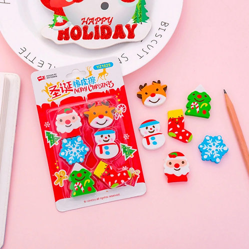 christmas cartoon erasers set