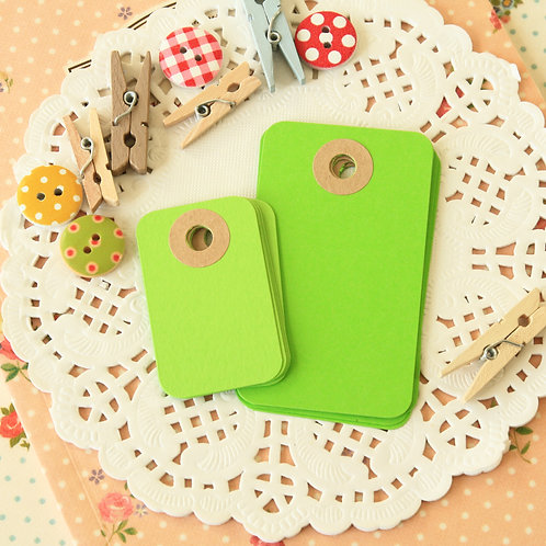 chartreuse green rounded rectangle tags