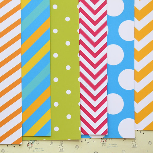 set 02 bright colours mix printed card stock