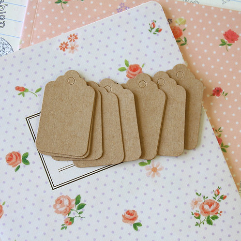 diy collection kraft brown scallop tags