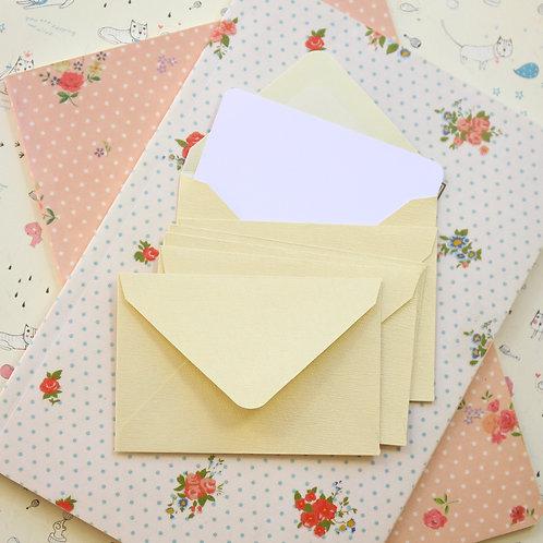 ivory platina textured mini envelopes & notecards