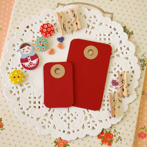 burgundy red rounded rectangle tags