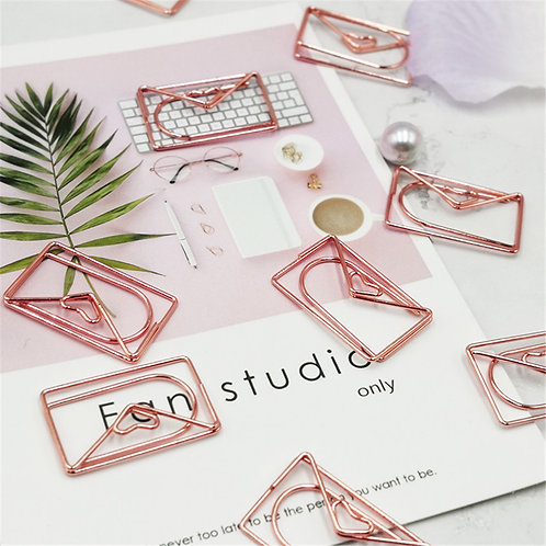 rose gold envelope heart shapes paper clips