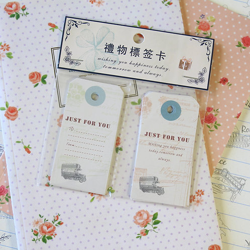 just for you bus vintage style message gift tags