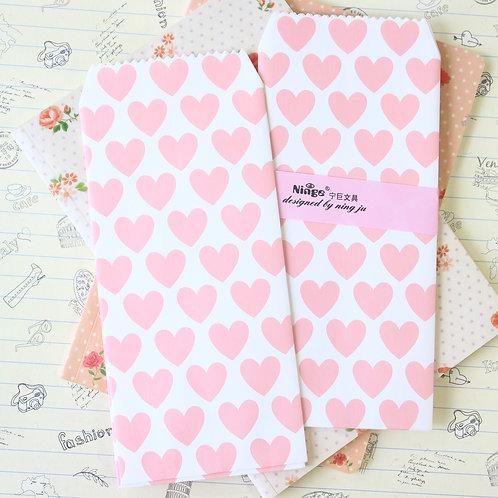 pink hearts natural pattern tall envelopes