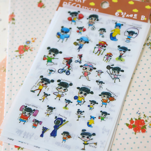 sports girl design deco cartoon stickers