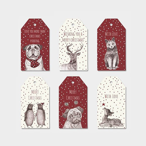 east of india christmas animals luggage gift tags