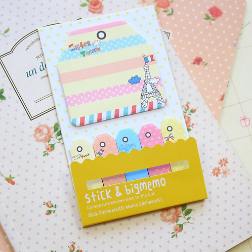 eiffel tower stick & big memo sticky notes