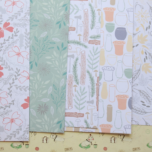 set 14 japanese forest mix printed card stock