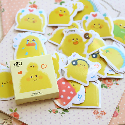 yellow pudding candy poetry cartoon cute shapes stickers