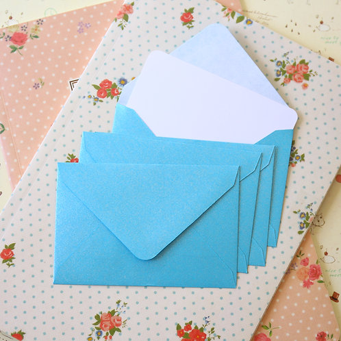 baby blue pearlescent mini envelopes & notecards