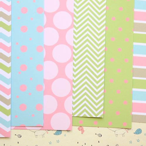 set 01 pink blue green and brown mix printed card stock