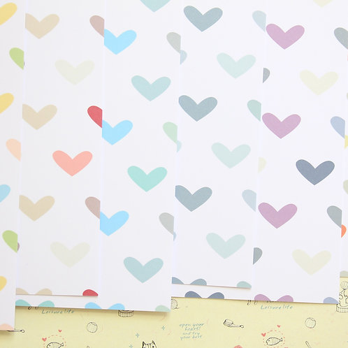 set 02 multi colored hearts printed card stock